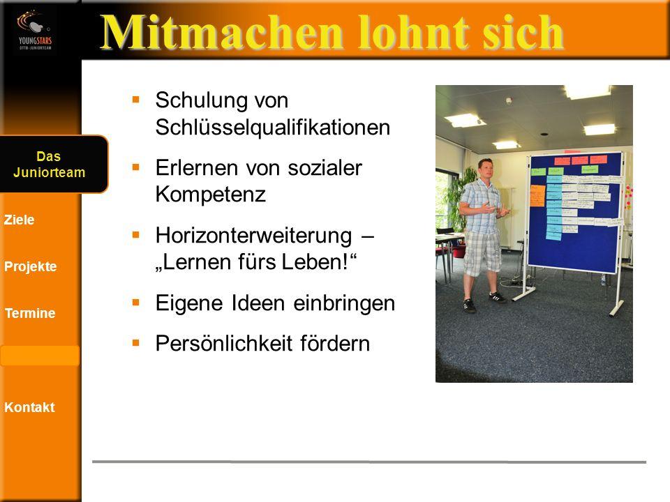 Das DTTB- Juniorteam Ziele Projekte Termine Andere JTs Kontakt Termine 2012 02.
