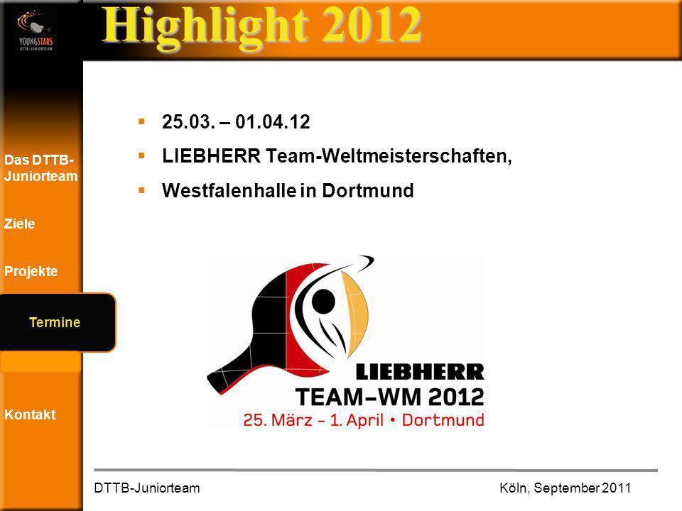 Das DTTB- Juniorteam Ziele Projekte Termine Andere JTs Kontakt Highlight 2012 25.03.