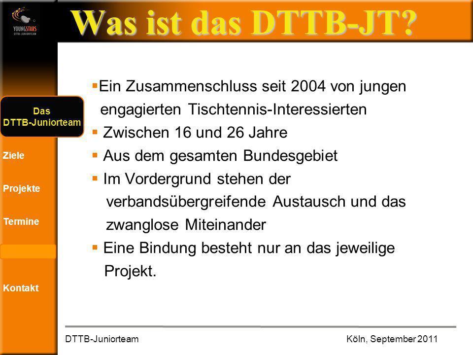Das DTTB- Juniorteam Ziele Projekte Termine Andere JTs Kontakt Was ist das DTTB-JT.