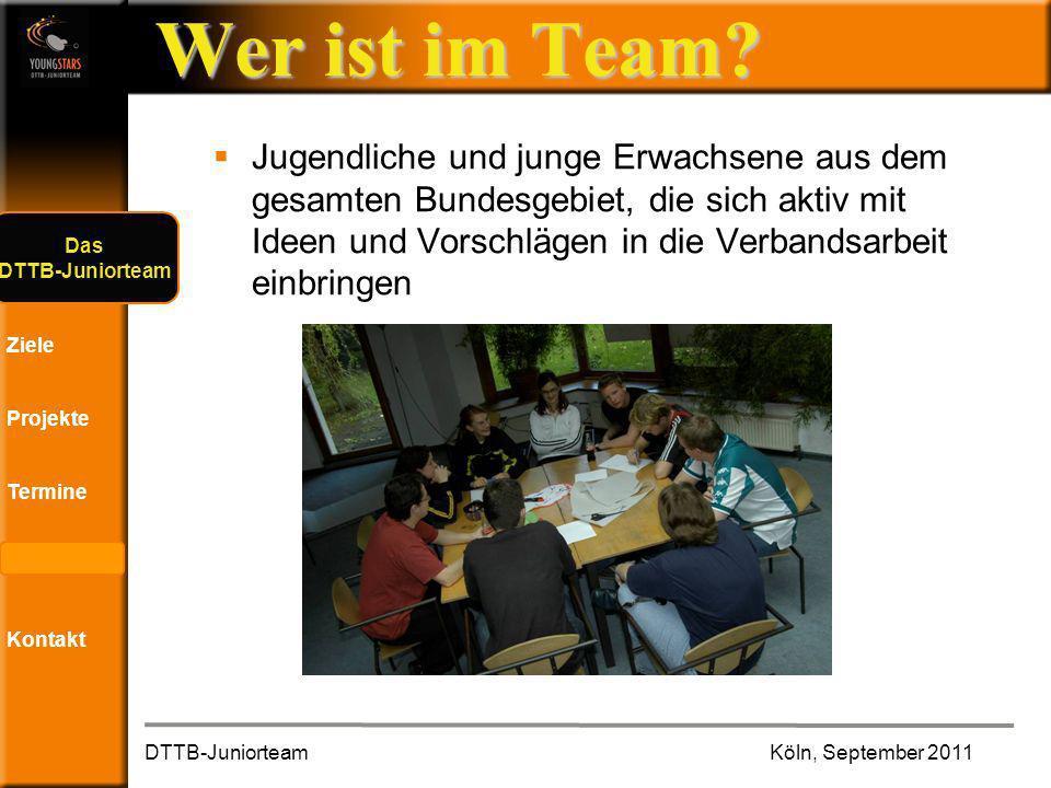 Das DTTB- Juniorteam Ziele Projekte Termine Andere JTs Kontakt Sonstige Eindrücke DTTB-JuniorteamKöln, September 2011 ?.