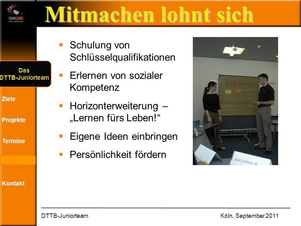 Das DTTB- Juniorteam Ziele Projekte Termine Andere JTs Kontakt Mitmachen lohnt sich … viele neue Leute kennen lernen … interessante Workshops besuchen DTTB-Juniorteam Köln, September 2011 Das DTTB-Juniorteam