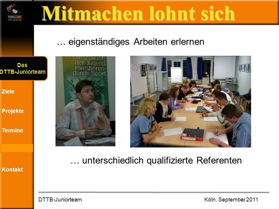 Das DTTB- Juniorteam Ziele Projekte Termine Andere JTs Kontakt Mitmachen lohnt sich … eigenständiges Arbeiten erlernen … unterschiedlich qualifizierte Referenten DTTB-Juniorteam Köln, September 2011 Das DTTB-Juniorteam