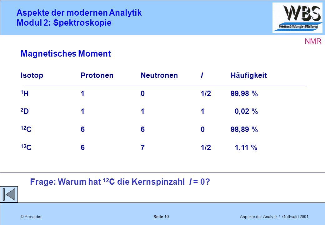 © ProvadisAspekte der Analytik / Gottwald 2001 Aspekte der modernen Analytik Modul 2: Spektroskopie Seite 10 Magnetisches Moment IsotopProtonenNeutronenIHäufigkeit 1 H101/299,98 % 2 D111 0,02 % 12 C66098,89 % 13 C671/2 1,11 % Frage: Warum hat 12 C die Kernspinzahl I = 0.