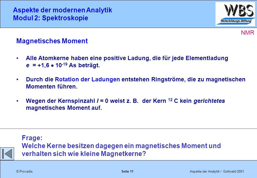© ProvadisAspekte der Analytik / Gottwald 2001 Aspekte der modernen Analytik Modul 2: Spektroskopie Seite 11 Magnetisches Moment Alle Atomkerne haben eine positive Ladung, die für jede Elementladung e = +1,6 10 -19 As beträgt.