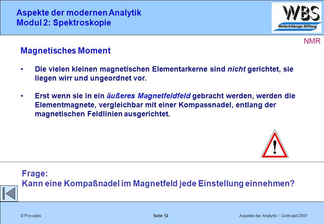 © ProvadisAspekte der Analytik / Gottwald 2001 Aspekte der modernen Analytik Modul 2: Spektroskopie Seite 12 Magnetisches Moment Die vielen kleinen magnetischen Elementarkerne sind nicht gerichtet, sie liegen wirr und ungeordnet vor.