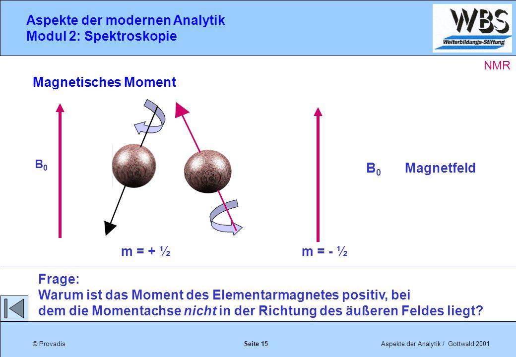 © ProvadisAspekte der Analytik / Gottwald 2001 Aspekte der modernen Analytik Modul 2: Spektroskopie Seite 15 Magnetisches Moment Frage: Warum ist das Moment des Elementarmagnetes positiv, bei dem die Momentachse nicht in der Richtung des äußeren Feldes liegt.