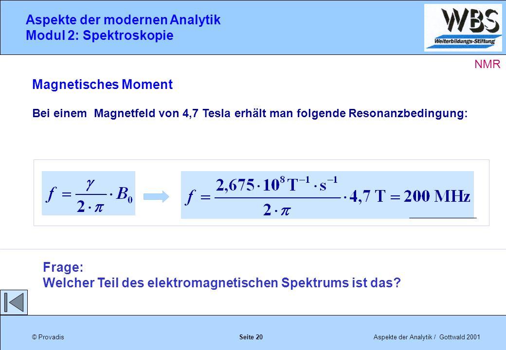 © ProvadisAspekte der Analytik / Gottwald 2001 Aspekte der modernen Analytik Modul 2: Spektroskopie Seite 20 Magnetisches Moment Bei einem Magnetfeld von 4,7 Tesla erhält man folgende Resonanzbedingung: Frage: Welcher Teil des elektromagnetischen Spektrums ist das.