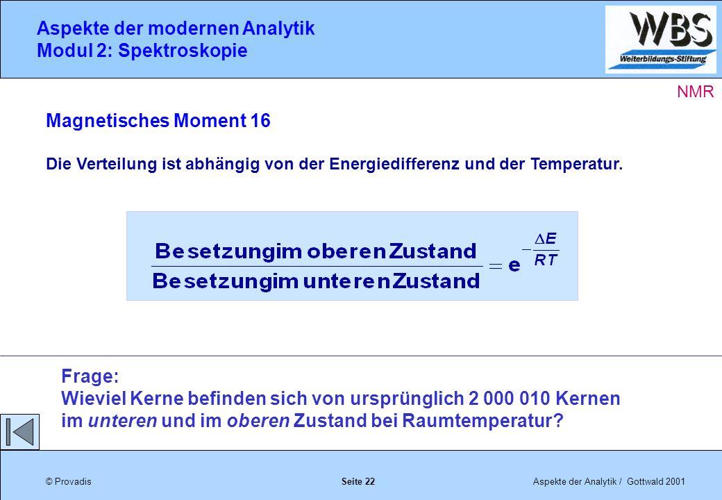 © ProvadisAspekte der Analytik / Gottwald 2001 Aspekte der modernen Analytik Modul 2: Spektroskopie Seite 22 Magnetisches Moment 16 Die Verteilung ist abhängig von der Energiedifferenz und der Temperatur.