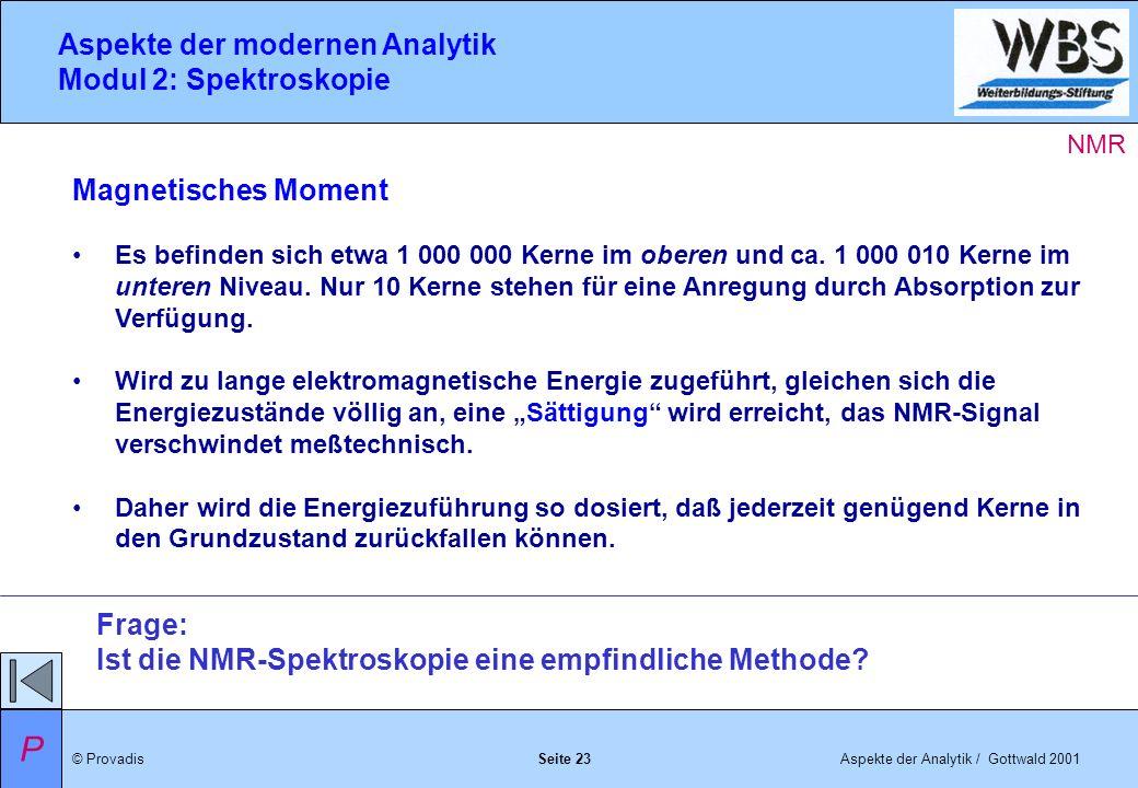 © ProvadisAspekte der Analytik / Gottwald 2001 Aspekte der modernen Analytik Modul 2: Spektroskopie Seite 23 Magnetisches Moment Es befinden sich etwa 1 000 000 Kerne im oberen und ca.