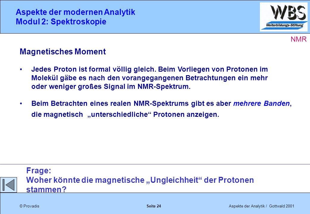 © ProvadisAspekte der Analytik / Gottwald 2001 Aspekte der modernen Analytik Modul 2: Spektroskopie Seite 24 Magnetisches Moment Jedes Proton ist formal völlig gleich.