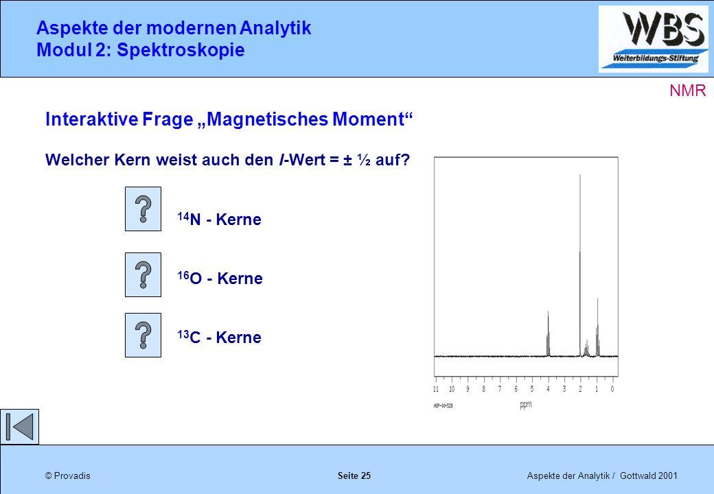 © ProvadisAspekte der Analytik / Gottwald 2001 Aspekte der modernen Analytik Modul 2: Spektroskopie Seite 25 Interaktive Frage Magnetisches Moment Welcher Kern weist auch den I-Wert = ± ½ auf.