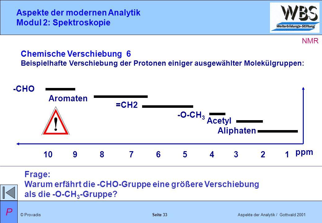 © ProvadisAspekte der Analytik / Gottwald 2001 Aspekte der modernen Analytik Modul 2: Spektroskopie Seite 33 Chemische Verschiebung 6 Beispielhafte Verschiebung der Protonen einiger ausgewählter Molekülgruppen: Frage: Warum erfährt die -CHO-Gruppe eine größere Verschiebung als die -O-CH 3 -Gruppe.