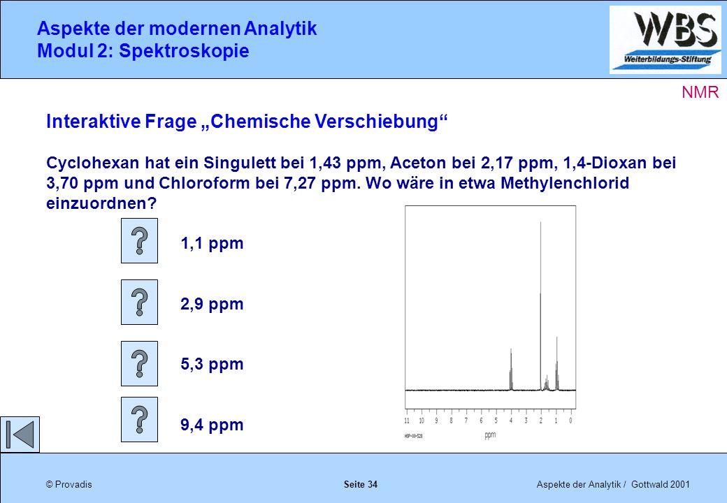 © ProvadisAspekte der Analytik / Gottwald 2001 Aspekte der modernen Analytik Modul 2: Spektroskopie Seite 34 Interaktive Frage Chemische Verschiebung Cyclohexan hat ein Singulett bei 1,43 ppm, Aceton bei 2,17 ppm, 1,4-Dioxan bei 3,70 ppm und Chloroform bei 7,27 ppm.