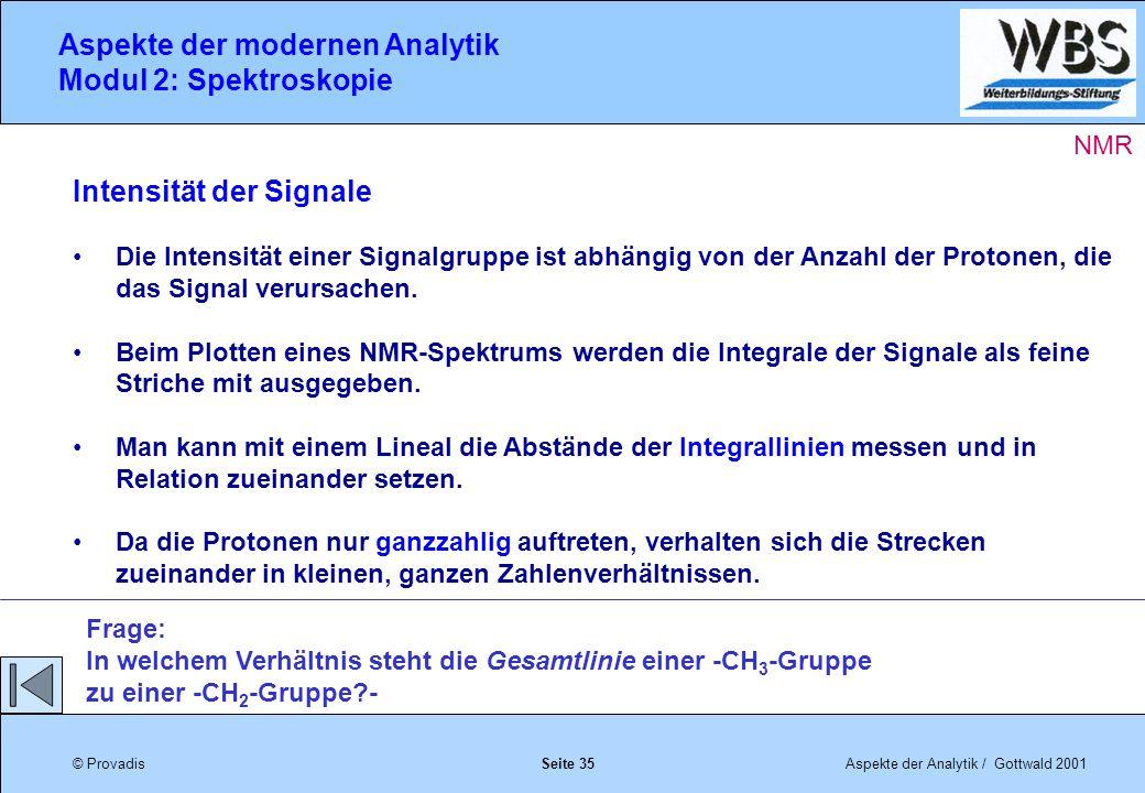 © ProvadisAspekte der Analytik / Gottwald 2001 Aspekte der modernen Analytik Modul 2: Spektroskopie Seite 35 Intensität der Signale Die Intensität einer Signalgruppe ist abhängig von der Anzahl der Protonen, die das Signal verursachen.