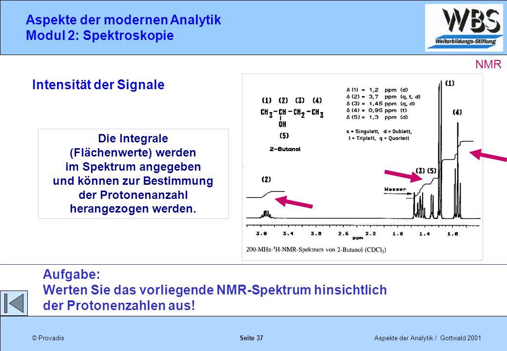 © ProvadisAspekte der Analytik / Gottwald 2001 Aspekte der modernen Analytik Modul 2: Spektroskopie Seite 37 Die Integrale (Flächenwerte) werden im Spektrum angegeben und können zur Bestimmung der Protonenanzahl herangezogen werden.