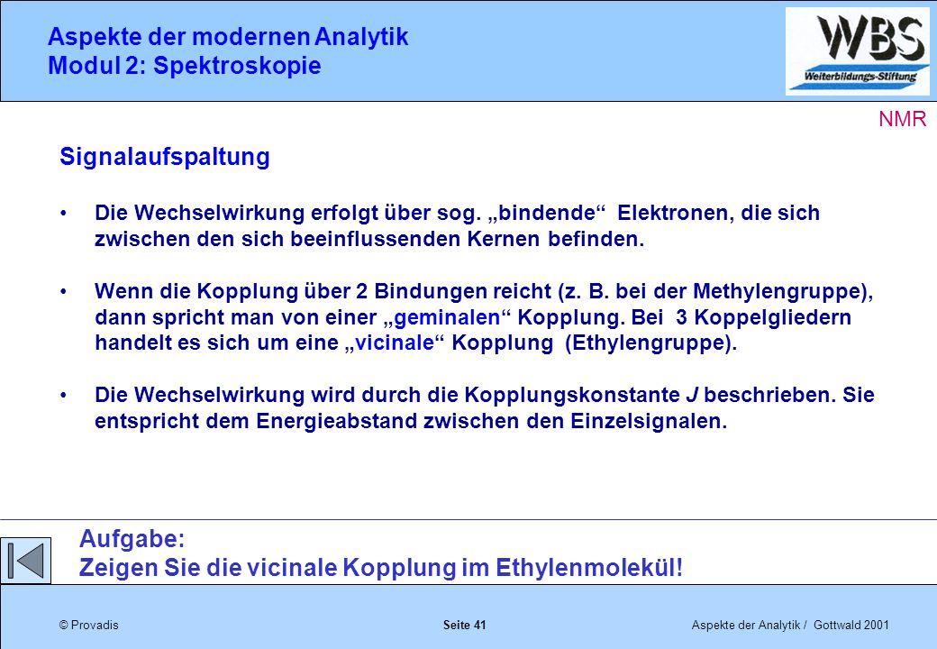 © ProvadisAspekte der Analytik / Gottwald 2001 Aspekte der modernen Analytik Modul 2: Spektroskopie Seite 41 Signalaufspaltung Die Wechselwirkung erfolgt über sog.