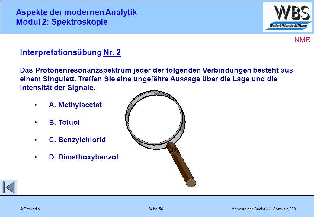 © ProvadisAspekte der Analytik / Gottwald 2001 Aspekte der modernen Analytik Modul 2: Spektroskopie Seite 56 Interpretationsübung Nr.