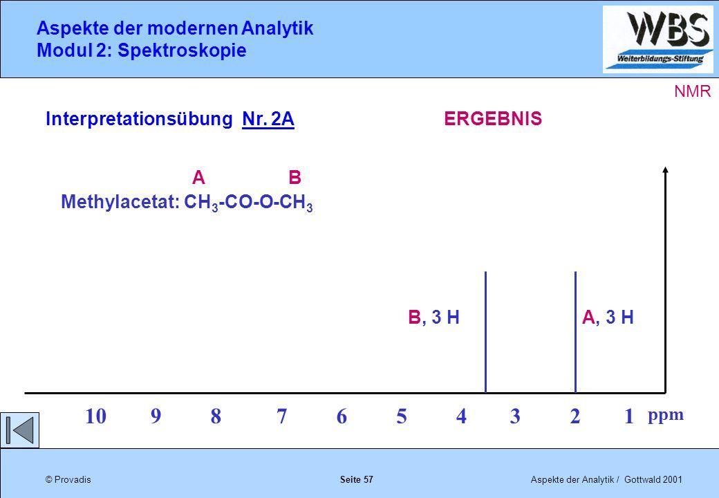 © ProvadisAspekte der Analytik / Gottwald 2001 Aspekte der modernen Analytik Modul 2: Spektroskopie Seite 57 Interpretationsübung Nr.