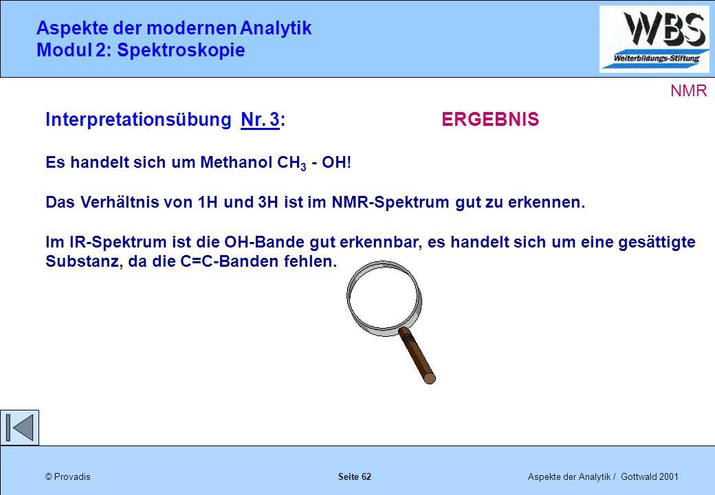 © ProvadisAspekte der Analytik / Gottwald 2001 Aspekte der modernen Analytik Modul 2: Spektroskopie Seite 62 Interpretationsübung Nr.