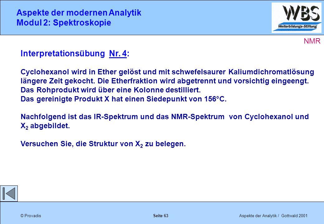 © ProvadisAspekte der Analytik / Gottwald 2001 Aspekte der modernen Analytik Modul 2: Spektroskopie Seite 63 Interpretationsübung Nr.