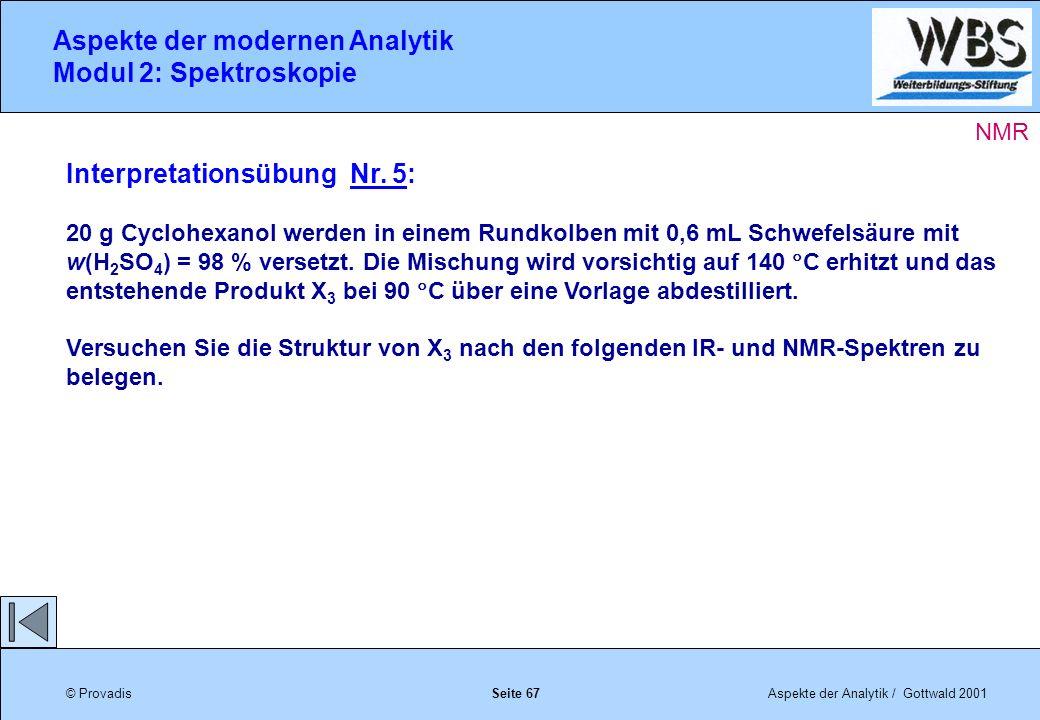 © ProvadisAspekte der Analytik / Gottwald 2001 Aspekte der modernen Analytik Modul 2: Spektroskopie Seite 67 Interpretationsübung Nr.