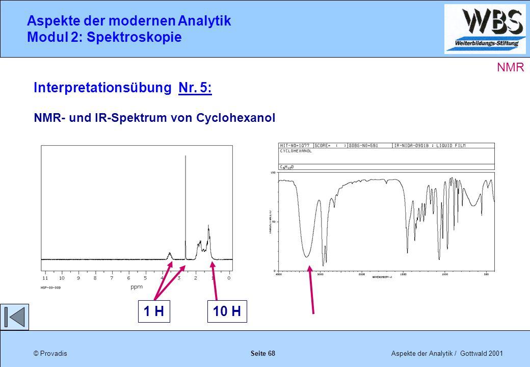 © ProvadisAspekte der Analytik / Gottwald 2001 Aspekte der modernen Analytik Modul 2: Spektroskopie Seite 68 Interpretationsübung Nr.