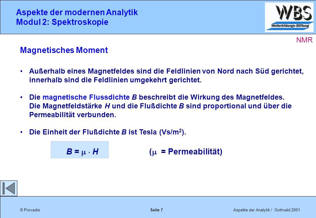 © ProvadisAspekte der Analytik / Gottwald 2001 Aspekte der modernen Analytik Modul 2: Spektroskopie Seite 7 NMR Magnetisches Moment Außerhalb eines Magnetfeldes sind die Feldlinien von Nord nach Süd gerichtet, innerhalb sind die Feldlinien umgekehrt gerichtet.