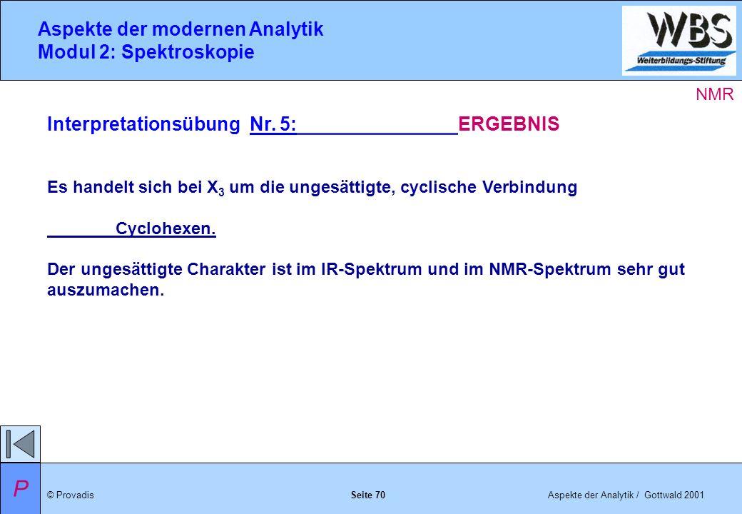 © ProvadisAspekte der Analytik / Gottwald 2001 Aspekte der modernen Analytik Modul 2: Spektroskopie Seite 70 Interpretationsübung Nr.