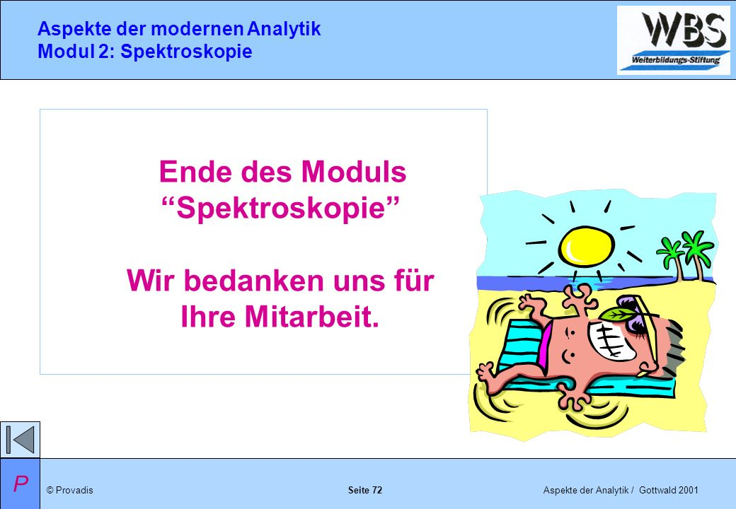 © ProvadisAspekte der Analytik / Gottwald 2001 Aspekte der modernen Analytik Modul 2: Spektroskopie Seite 72 Ende des Moduls Spektroskopie Wir bedanken uns für Ihre Mitarbeit.