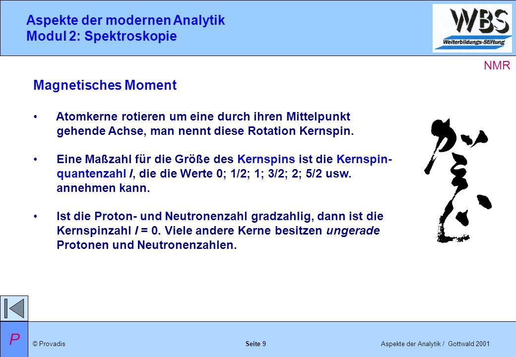 © ProvadisAspekte der Analytik / Gottwald 2001 Aspekte der modernen Analytik Modul 2: Spektroskopie Seite 9 Magnetisches Moment Atomkerne rotieren um eine durch ihren Mittelpunkt gehende Achse, man nennt diese Rotation Kernspin.