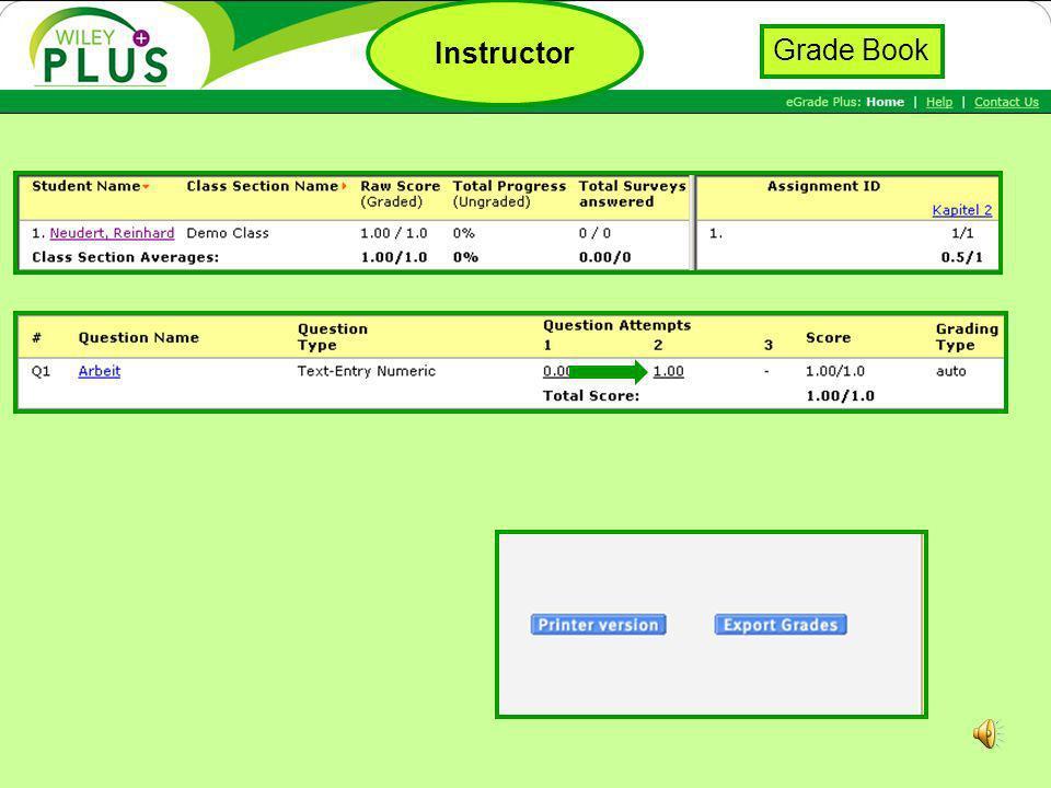 Instructor Grade Book