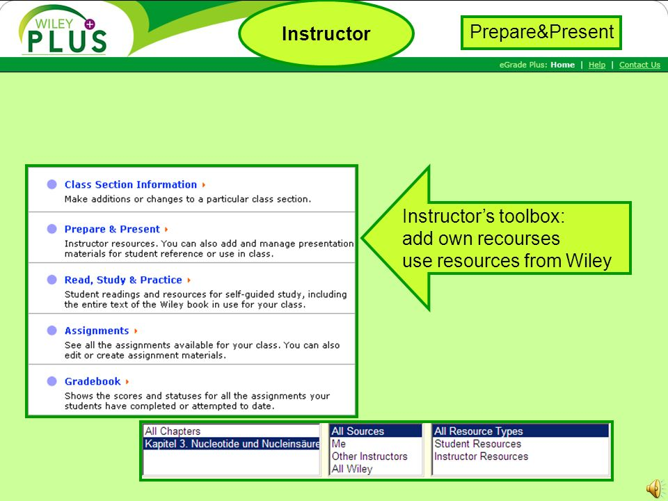 Instructors toolbox: add own recourses use resources from Wiley Instructor Prepare&Present
