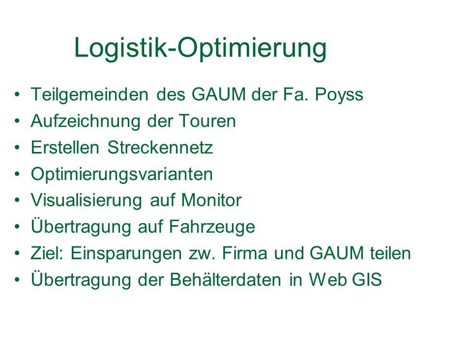 Logistik-Optimierung Teilgemeinden des GAUM der Fa.