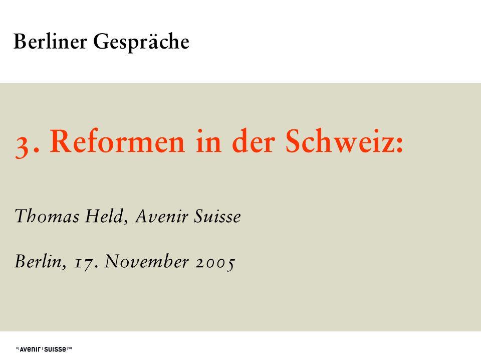 3. Reformen in der Schweiz: Thomas Held, Avenir Suisse Berlin, 17. November 2005 Berliner Gespräche