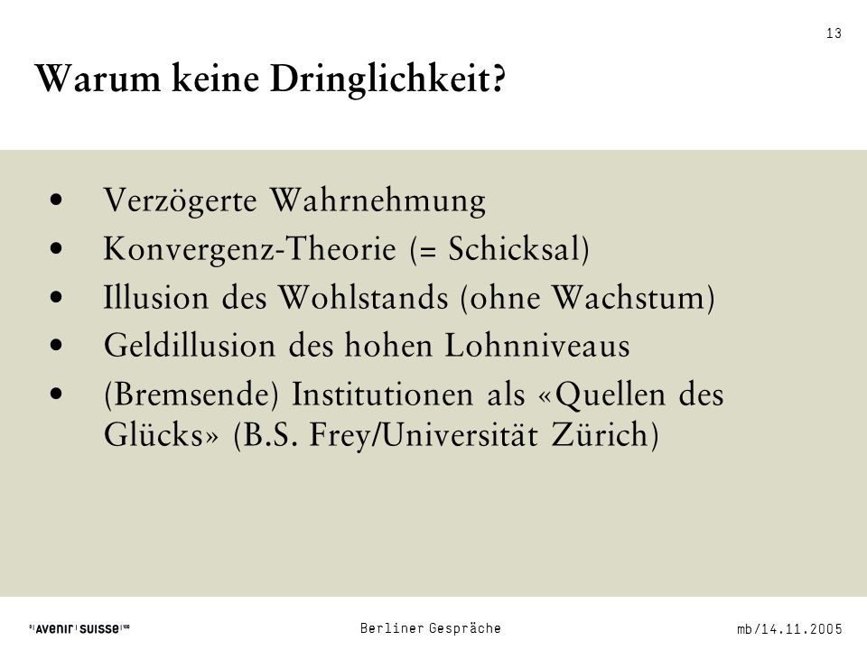 mb/14.11.2005 Berliner Gespräche 13 Warum keine Dringlichkeit.