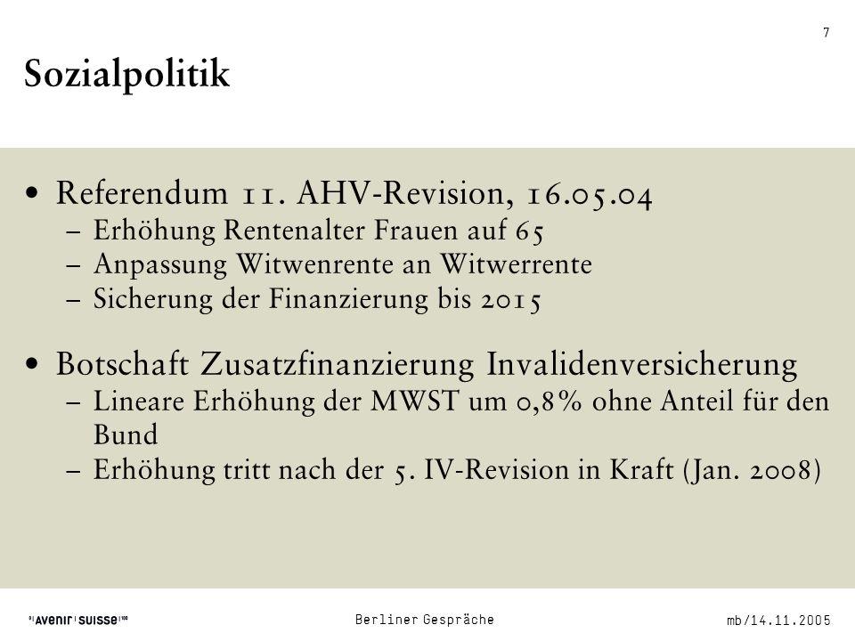mb/14.11.2005 Berliner Gespräche 7 Sozialpolitik Referendum 11.