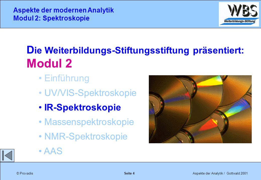 © ProvadisAspekte der Analytik / Gottwald 2001 Aspekte der modernen Analytik Modul 2: Spektroskopie Seite 75 Bearbeitung des IR-Spektrums Manchmal wird die Abszisse nicht mit der Wellenzahl, sondern mit der Wellenlänge in m angegeben.