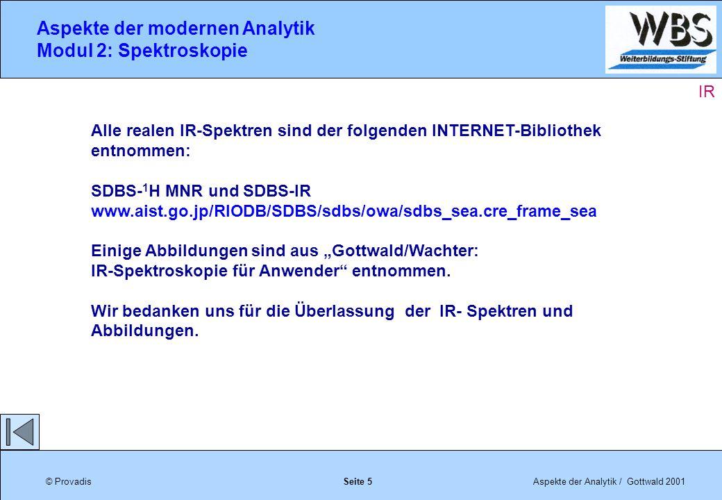 © ProvadisAspekte der Analytik / Gottwald 2001 Aspekte der modernen Analytik Modul 2: Spektroskopie Seite 6 IR
