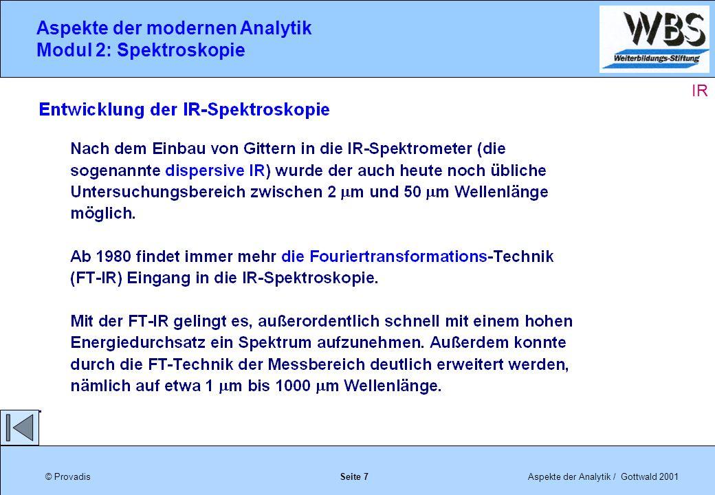 © ProvadisAspekte der Analytik / Gottwald 2001 Aspekte der modernen Analytik Modul 2: Spektroskopie Seite 18 IR