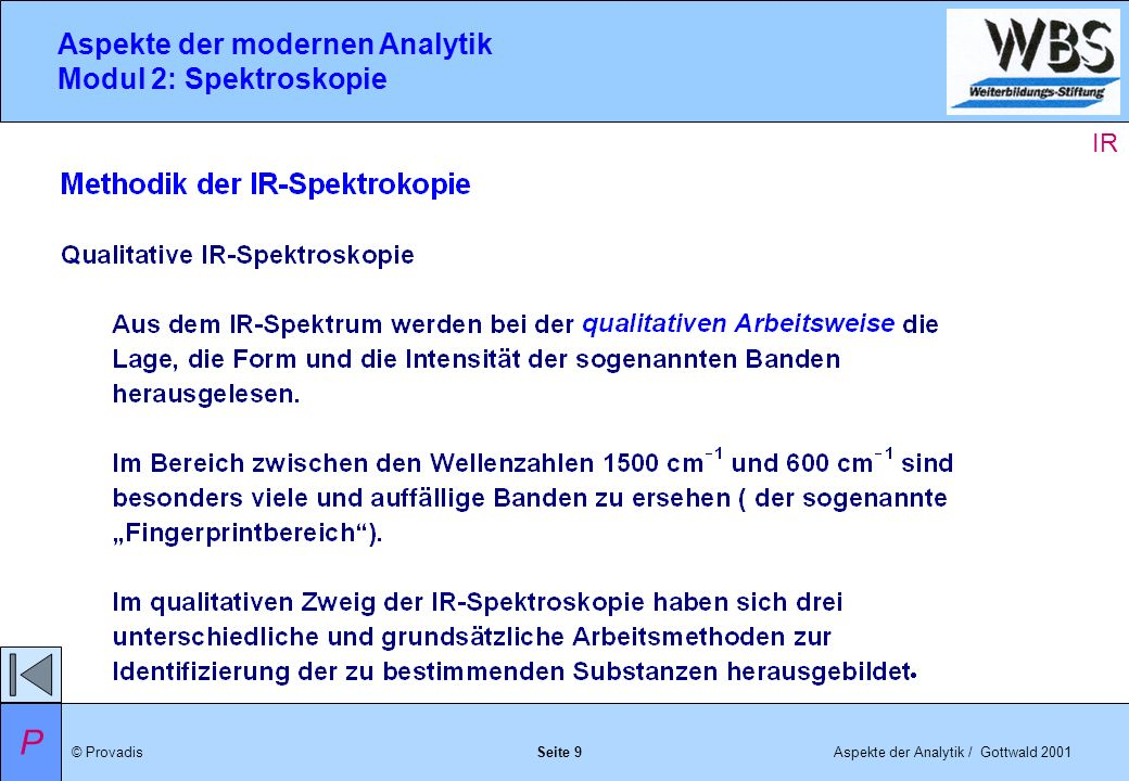 © ProvadisAspekte der Analytik / Gottwald 2001 Aspekte der modernen Analytik Modul 2: Spektroskopie Seite 10 IR