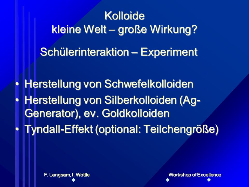 Lehrerinteraktion - Input Erklärung des Wesens der KolloideErklärung des Wesens der Kolloide Wahrnehmungseffekte (Tyndall-Effekt, Rastertunnelmikroskop, …)Wahrnehmungseffekte (Tyndall-Effekt, Rastertunnelmikroskop, …) Kolloide kleine Welt – große Wirkung.