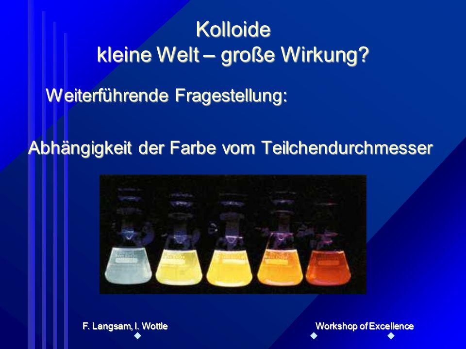 Schülerinteraktion – Experiment Herstellung von SchwefelkolloidenHerstellung von Schwefelkolloiden Herstellung von Silberkolloiden (Ag- Generator), ev.