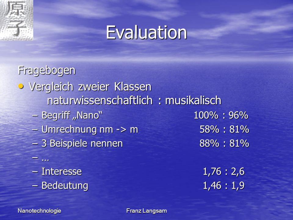 NanotechnologieFranz Langsam Evaluation Fragebogen Vergleich zweier Klassen naturwissenschaftlich : musikalisch Vergleich zweier Klassen naturwissensc