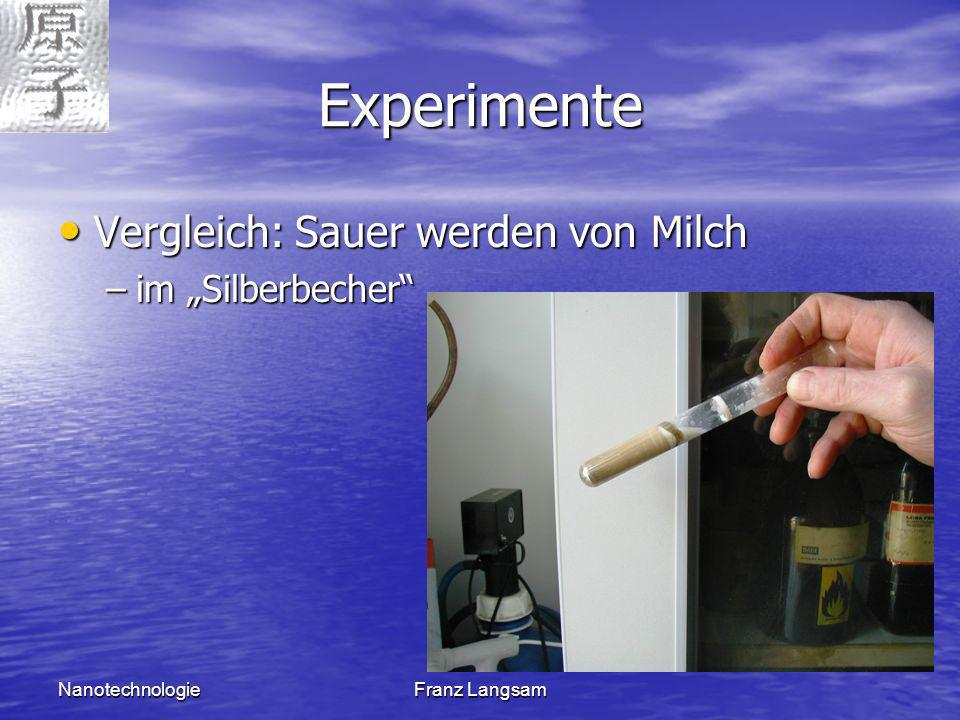 NanotechnologieFranz Langsam Experimente Vergleich: Sauer werden von Milch Vergleich: Sauer werden von Milch –im Silberbecher