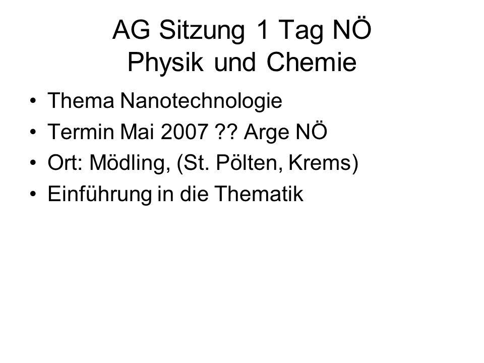 AG Sitzung 1 Tag NÖ Physik und Chemie Thema Nanotechnologie Termin Mai 2007 ?? Arge NÖ Ort: Mödling, (St. Pölten, Krems) Einführung in die Thematik