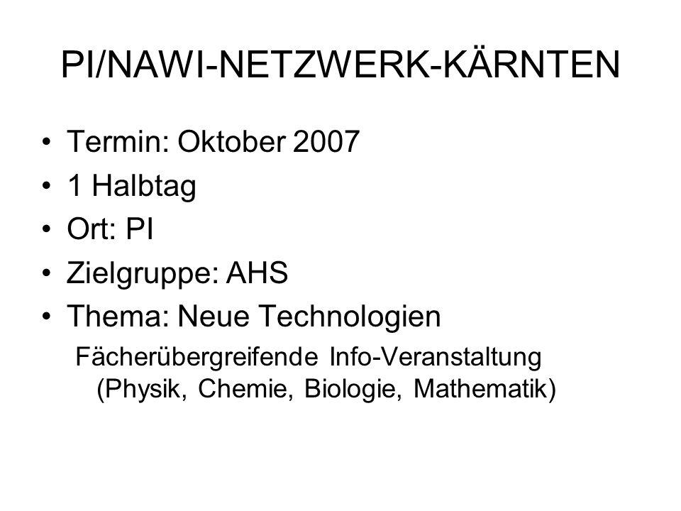PI/NAWI-NETZWERK-KÄRNTEN Inhalt –Nanotechnologie –Gentechnik –Zufall und Spiel Zielsetzung: -fächerübergreifende Veranstaltung, Blick über den Tellerrand -Vorbereitung auf die Großveranstaltung NAWI 2008