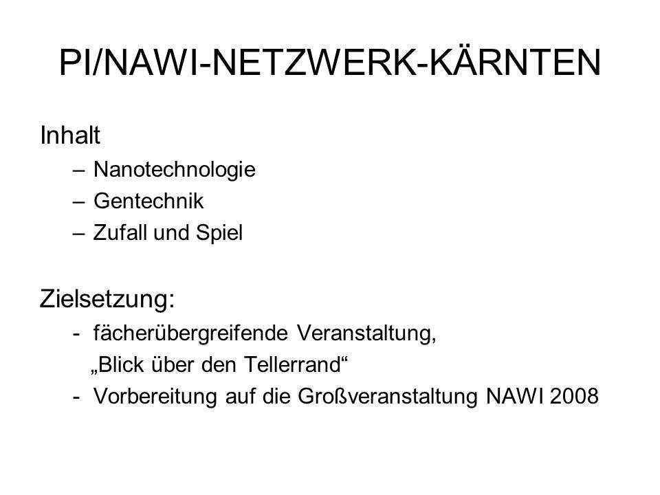PI/NAWI-NETZWERK-KÄRNTEN Inhalt –Nanotechnologie –Gentechnik –Zufall und Spiel Zielsetzung: -fächerübergreifende Veranstaltung, Blick über den Tellerr