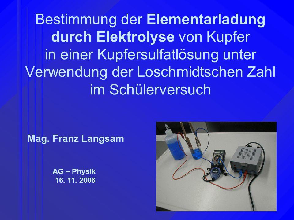 Mag. Franz Langsam Bestimmung der Elementarladung 16. 11. 2006 AG - Physik Mag. Franz Langsam AG – Physik 16. 11. 2006 Bestimmung der Elementarladung