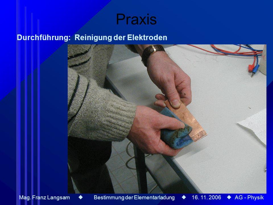 Mag. Franz Langsam Bestimmung der Elementarladung 16. 11. 2006 AG - Physik Praxis Durchführung: Reinigung der Elektroden