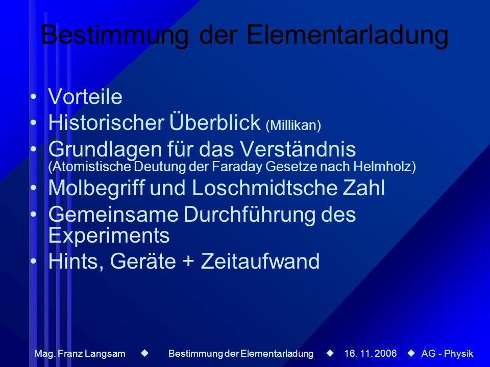 Mag. Franz Langsam Bestimmung der Elementarladung 16. 11. 2006 AG - Physik Bestimmung der Elementarladung Vorteile Historischer Überblick (Millikan) G